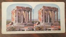 Stereoview Card 828 Temple of Nike from Acropolis, Athens, Greece