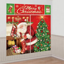 Magical Christmas Scene Party Wall decoration backdrop Santa Poster decoration