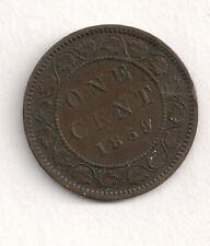 CANADA - BEAUTIFUL BRONZE 1 CENT, 1859/8 WIDE 9, KM# 1 BOOK VALUE $20