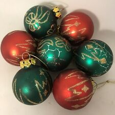 Vintage Mercury Glass Baubles Christmas Tree Decorations Gold Glitter Retro