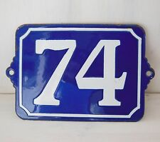 74 Large number sign House door plaque Antique French Blue