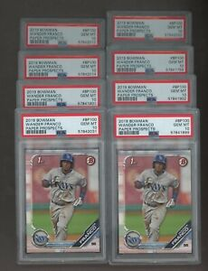 Investor Lot of (8) 2019 Bowman Paper Wander Franco Rays RC Rookie PSA 10
