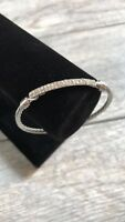Silver Crystal Sparkling Bar Cable Bangle Fashion Bracelet