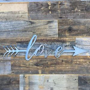 Rustic Home Love with an Arrow 24 x 8  Farmhouse Metal Words, Kitchen Wall Decor