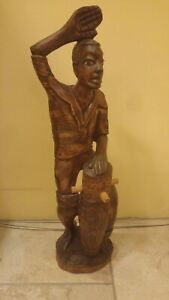 Primitiv Frau Lombok mit Muschelverzierung Holzfigur Figur Statue aus Holz 34cm