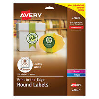 """Avery Round True Print Labels 2"""" dia White 120/Pack 22807"""