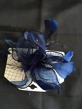 Beautiful Navy Blue Mesh & Feather Trim Clip On FASCINATOR Headpiece BNWT