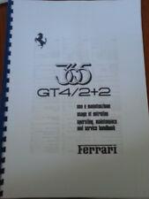 FERRARI 365 gt4/2+2 funzionamento Manutenzione & Manuale di servizio ristampare.