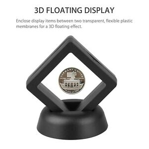 3D Floating Frame Display Holder Stand Box Case For Amber Fossils,Coins,Jewelry