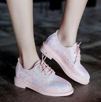 Women Chic Low Top Sequins Round Toe Lace-up Shoes Outdoor Casual Boots Heels