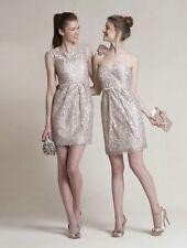 Jenny Yoo Dress 12 Metallic Lace Strapless Sheath Sandstone Hudson Lyon