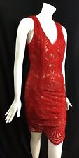 Bardot Women's Dress Embroidered Lace Overlay Red V-Neck Size Small 6