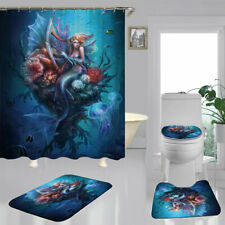 Blue Sea Underwater Mermaid Shower Curtain BathMat Toilet Cover Rug Bathroom Art