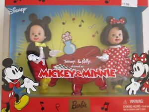 2002 Barbie Collectibles Tommy & Kelly Dolls Dressed as Mickey & Minnie NRFB