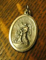 Guardian Angel Italian Medal - Vintage Catholic Holy Spirit Silver Italy Charm