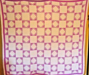 ANTIQUE  QUILT LAVENDER MINI SAWTOOTH  DIAMONDS IN SQUARE FABULOUS