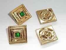 8 Stück Metallknöpfe Knöpfe Ösenknopf  24x24 mm gold-grün NEU rostfrei #069#