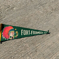 "Vintage Fort France Ontario Canada Pennant Banner Indian Chief 22""No Tassel"