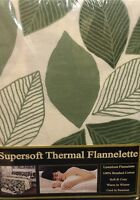KING SIZE FLANNELETTE SHEET SET 100% BRUSHED COTTON LEAVES GREEN OFF CREAM