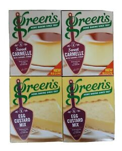 GREEN'S EGG CUSTARD 2 BOXES & SWEET CARMELLE 2 BOXES (4 BOXES IN TOTAL)