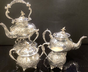 Ornate Silver Plated Tea Set + Spirit Kettle With Bird Finials By John Turton