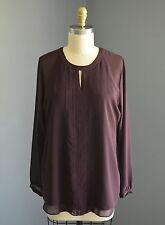 CABI $89 Entice Purple Key Hole Back Blouse Top Style #3092 Size Medium