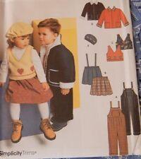 4832 Simplicity Boy's Girls Coat Jacket Overalls Vest Hat Skirt Size 1/2 1 2 3 4