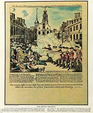 Paul Revere Boston Massacre Full Color Print from Fortune Magazine ~ 1933 14x11
