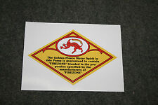 Golden Fleece 'Firezone Devil' diamond shape vinyl decal for petrol bowser