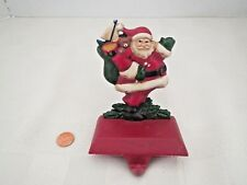 MIDWEST Painted Cast Iron Santa & Toy Sack Christmas Stocking Holder Hanger Hook