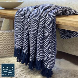 Luxury Eco Friendly Deep Navy Blue Abstract Diamond Sofa Throw Blanket Large