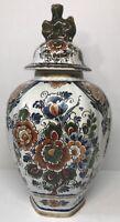 Belle Potiche DELFTS Sphinx Floral Keramik Polychroom H 32,5 D 17 Cm