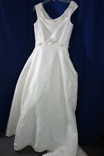 Wedding Gown -Ravissant- M- Pearls & Pink Ribbon Roses-Train-VG-BEAUTIFUL-SALE