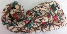 NEW Cute, Fun & Funky Owl Infinity Scarf Snood Soft Warm Fun Cream Green Pink