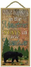"""What Happens in the Mountains Stays in the Mountains Black Bear Sign 10""""x5"""""""