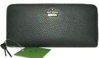 KATE SPADE Lindsey Black Leather Zip-Around Clutch Wallet NWT
