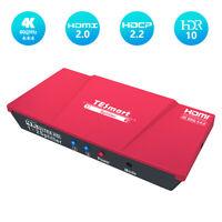 TESmart 1x2 HDMI Splitter Amplifier Repeater 4K@60hz HDCP 2.2  EDOD 3D