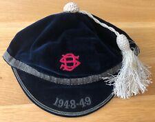 More details for vintage circa 1948 - 1949 navy velvet sporting -school -honour cap size uk 7 1/4