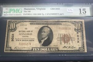 Manassas Virginia ,$10, 1929 type one , National  bank of Manassss  PMG15