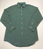 New Polo Ralph Lauren Mens SizeL Dark Green Long Sleeve Button Down 16 1/2 32-33