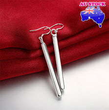 Stunning 925 Sterling Silver Filled High Polished Bar Dangle Earrings