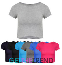 Womens Ladies Plain Crop Top Short Cap Sleeve Belly Top Girls Jersey Short Tee