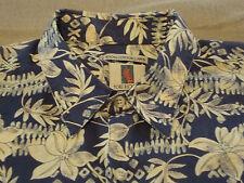 Tori Richard Hawaiian Mens Camp Shirt L Large Aloha Cotton Lawn Flowers Blue
