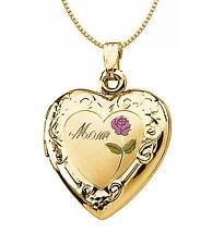 Gold Heart Engraved Locket Flower Detail Gold Mom Locket Reversible 14K Yellow