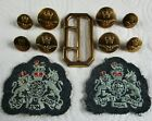 """Set 1950's RAF:""""ROYAL AIR FORCE BUTTONS, BUCKLE & W/O's BADGES"""" (23mm-17mm, QE2)"""