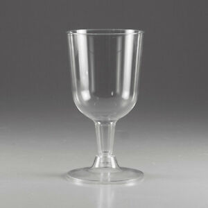 24 Pack Clear Plastic Reusable Party BBQ Wedding Stem Wine Glasses 120ml 4oz KC3