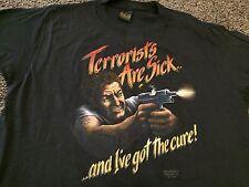 VTG NOS 80s 1987 Terrorists Are Sick Cure Gun Shirt 3D Emblem Rare Harley