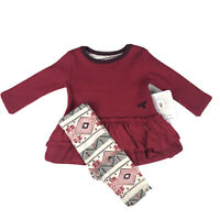 Burt's Bees Baby Red Long Sleeve Thermal Ruffled Tunic Dress Leggings Set 3-6 MO