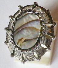bague beau bijou vintage couleur argent nacre abalone taille réglable p