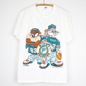 1990s Bugs and Taz Miami Dolphins Shirt White Unisex Cotton Vintage TK1540
